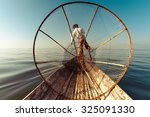 Burmese Fisherman On Bamboo...