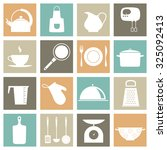 vector set with kitchen icons | Shutterstock .eps vector #325092413