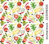 italian kitchen pattern with... | Shutterstock . vector #325098500
