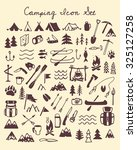 vector camping icon set. hand... | Shutterstock .eps vector #325127258