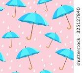 Vector Blue Umbrellas Seamless...