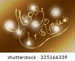 happy christmas on a golden... | Shutterstock .eps vector #325166339