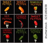 different kind of pepper on a... | Shutterstock . vector #325180658