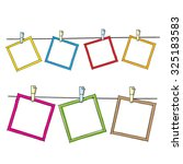 Stock vector photo frames on rope doodle sketch vector 325183583