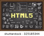 doodle about html 5 on... | Shutterstock .eps vector #325185344