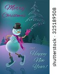 snowman on a skating rink with... | Shutterstock .eps vector #325189508