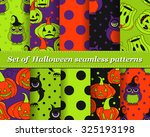 set of halloween seamless... | Shutterstock .eps vector #325193198