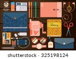 set of items for the school on... | Shutterstock .eps vector #325198124