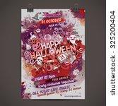 vector happy halloween doodles... | Shutterstock .eps vector #325200404