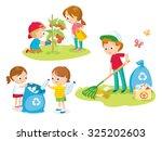 cute kids volunteers | Shutterstock .eps vector #325202603