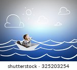 businessman escapes from the... | Shutterstock . vector #325203254