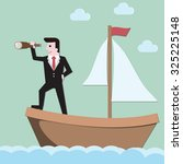businessman holding spyglass... | Shutterstock .eps vector #325225148