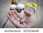 hand hold many medicine  boxes... | Shutterstock . vector #325226648