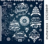 christmas and new year labels... | Shutterstock .eps vector #325238849