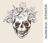 skull  bird and flowers   hand... | Shutterstock .eps vector #325260530