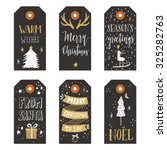 vintage christmas gift tags | Shutterstock .eps vector #325282763