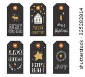 vintage christmas gift tags | Shutterstock .eps vector #325282814
