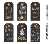 vintage christmas gift tags | Shutterstock .eps vector #325282829