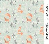 fox in winter pine forest.... | Shutterstock .eps vector #325285658