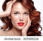 beautiful face of a fashion... | Shutterstock . vector #325300226