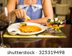 potato cutlets with sour cream | Shutterstock . vector #325319498