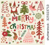 lovely merry christmas card in... | Shutterstock .eps vector #325323713