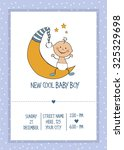 baby boy shower card  vector... | Shutterstock .eps vector #325329698