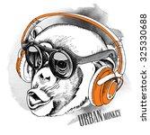 Monkey Portrait In A Headphone...
