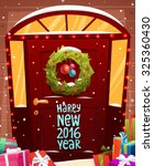 christmas door decoration. xmas ... | Shutterstock .eps vector #325360430