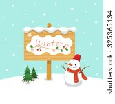 winter wooden sign with snowman | Shutterstock .eps vector #325365134