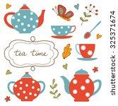 colorful tea party set....   Shutterstock .eps vector #325371674