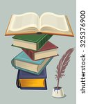 stack of old books isolated on... | Shutterstock .eps vector #325376900