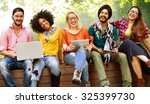 teenagers young team together... | Shutterstock . vector #325399730
