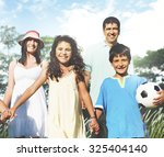family playing outdoors... | Shutterstock . vector #325404140