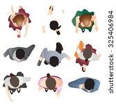 people standing top view set 9... | Shutterstock .eps vector #325406984