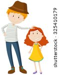 tall man and short girl... | Shutterstock .eps vector #325410179