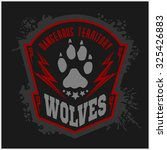 Wolves - military label, badges and design elements. Street fighting club and Security badge with wolf, foot tracks  and inscriptions Wolves.