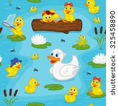 Seamless Pattern With Ducks On...