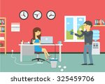 happy young business woman... | Shutterstock .eps vector #325459706