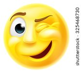 a happy winking emoji emoticon... | Shutterstock . vector #325468730