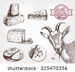 goat breeding. set of sketches... | Shutterstock .eps vector #325470356