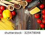 pasta spaghetti with tomatoes ... | Shutterstock . vector #325478048