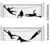 silhouettes of soccer... | Shutterstock .eps vector #325483346
