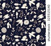 outline bird floral pattern | Shutterstock .eps vector #325515140