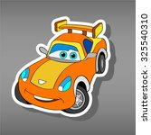 cartoon orange car sticker for... | Shutterstock .eps vector #325540310