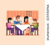 family dinner. mom  dad  son ... | Shutterstock .eps vector #325556966