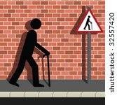 signage old man walking along a ... | Shutterstock .eps vector #32557420