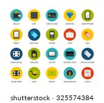 round icons thin flat design ... | Shutterstock .eps vector #325574384