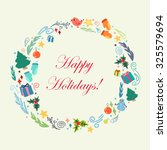 happy holidays cartoon circle.... | Shutterstock .eps vector #325579694