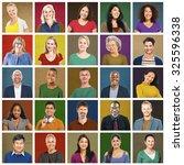multiethnic people colorful... | Shutterstock . vector #325596338
